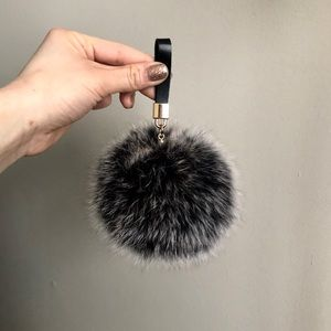 Accessories - Grey black furry purse charm